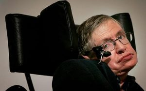 FILE - Stephen Hawking...LONDON - (FILE) Professor Stephen Hawking delivers his speech at the release of the